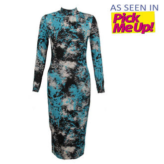View Item Blue Tie Dye Polo Neck Midi Dress